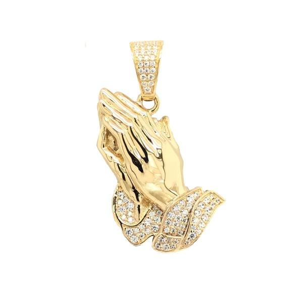 Anhänger betende Hände 585 Gold mit Zirkonia
