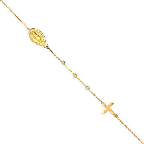 Armband Kreuz mit Mutter Maria 585 Gold E10976
