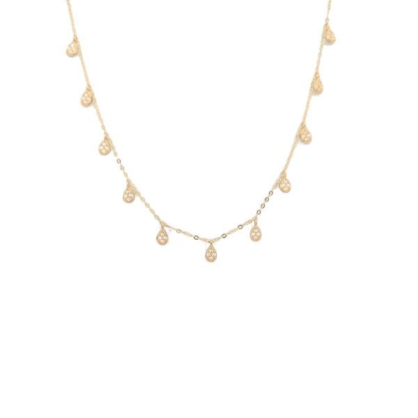 Collierkette Tropfen mit Zirkonia 585 Gelbgold E11089
