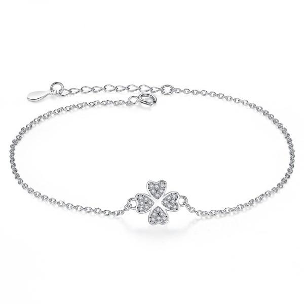 Armband 925 Silber Kleeblatt 106048