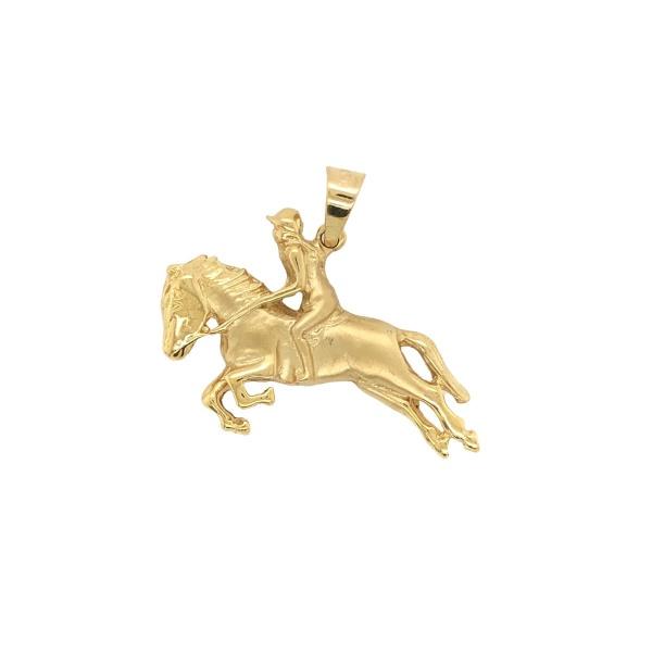 Anhänger Pferd mit Reiter massiv 585 Gold E10959
