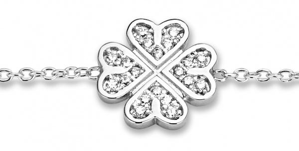 Armband 925 Silber Kleeblatt 55721