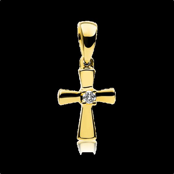 Diamant Anhänger Kreuz Gelbgold